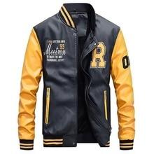 Мужская бейсбольная куртка из искусственной кожи с вышивкой, приталенная флисовая Роскошная куртка пилота для колледжа, мужская верхняя куртка со стоячим воротником, пальто