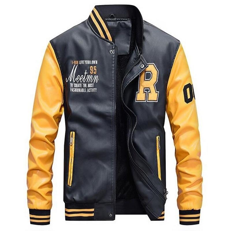 Männer Baseball Jacke Bestickte Leder Pu Mäntel Slim Fit College Fleece Luxus Pilot Jacken der Männer Stehen Kragen Top Jacke mantel