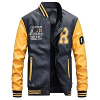Men Baseball Jacket Embroidered Leather Pu Coats Slim Fit College Fleece Luxury Pilot Jackets Men's Stand Collar Top Jacket Coat Jackets