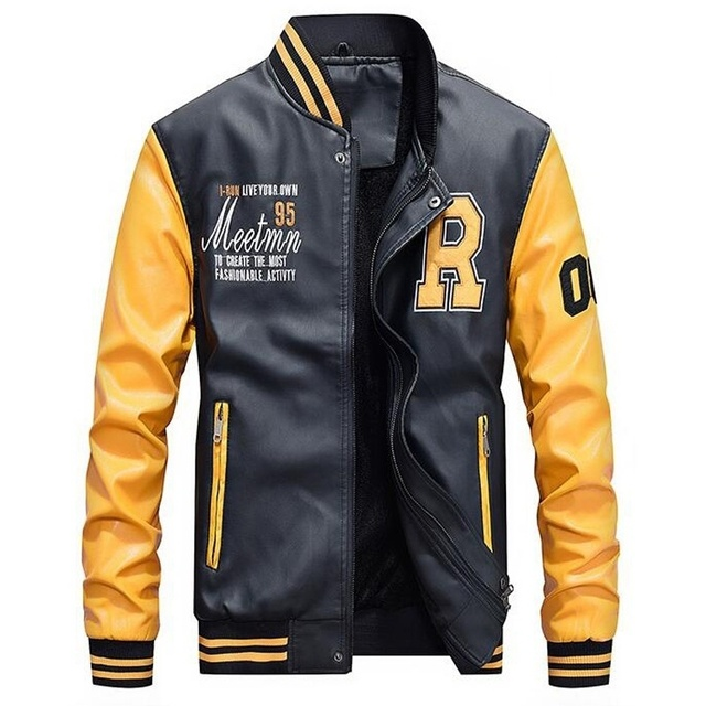 Men Baseball Jacket Embroidered Leather Pu Coats Slim Fit College Fleece Luxury Pilot Jackets Men's Stand Collar Top Jacket Coat 21