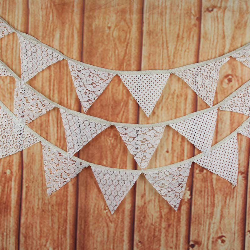 10Pcs Lace Pennant Happy Birthday Decoration Wedding Garlands Candy Bar Bunting Party Decor Supplies Babyshower Wreath Slingers in Banners Streamers Confetti from Home Garden