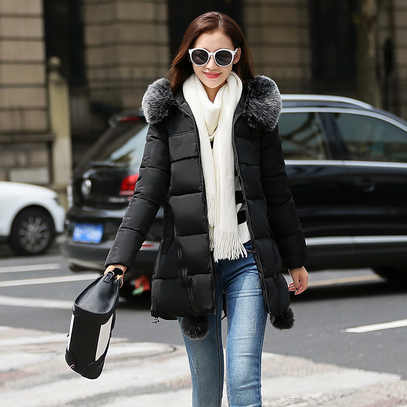 2017 Winter Jacket Women Fashion Coat Fur Collar Cotton Padded Hooded Thick Warm Outwear Parka Slim Female Down Six Colors M-3XL