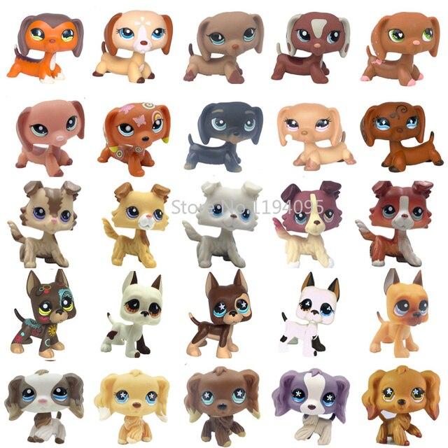 Raros brinquedos de pet shop cão dachshund preto marrom 325 675 pequeno animal collie crocker spaniel great dane velho coleção real