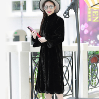 Women Vertical Stripe Over the knee Faux Rex Rabbit Fur Coat