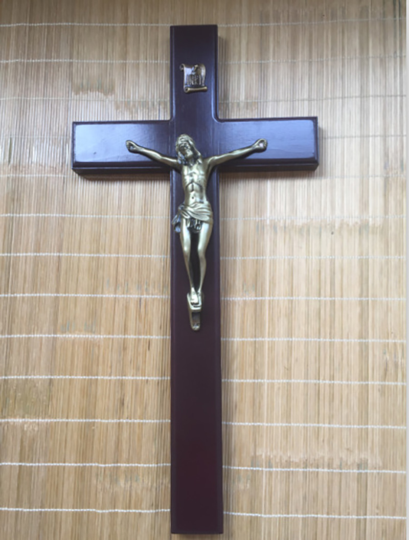 Crucifix catholique Sapele bois massif Crucifix ornements décorations jésus croix artisanat agneau de dieu Figure Iesus bois