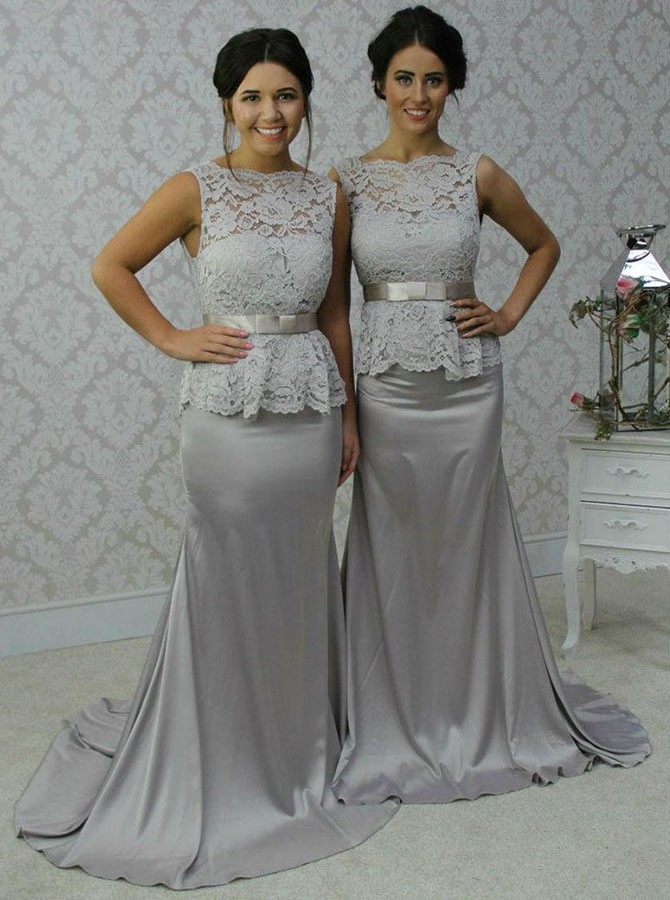 Silver Gray Long   Bridesmaid     Dresses   2019 Mermaid Lace Top Stretch Satin Women Elegant Formal Wedding Party Gowns Country Rustic