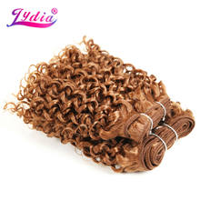 "Lydia For Women Synthetic Curly Hair Extensions New Water Wave 10"" 3PCS/Lot Pure Color 30# Hair Weaving Kanekalon Hair Bundles(China)"