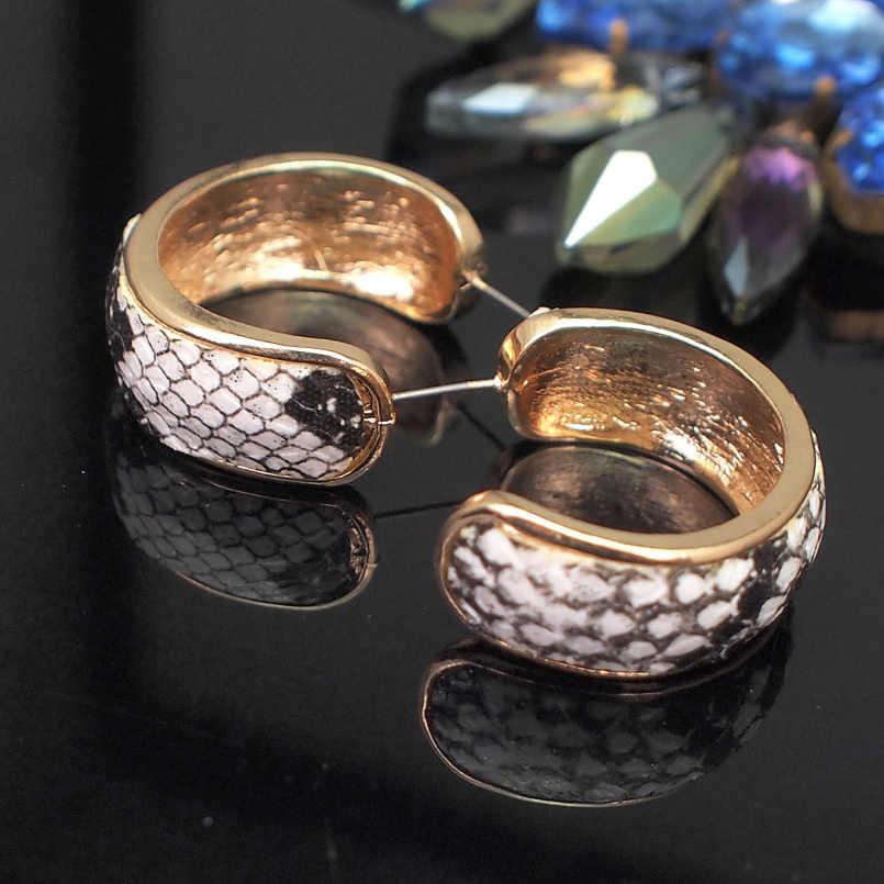 MANILAI ثعبان طباعة وأقراط زا بيان أقراط جلدية للنساء هندسية المعادن أقراط كبيرة مجوهرات الأزياء Brincos