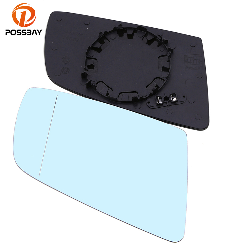 POSSBAY Side Door Rear View Wing Mirror Glass Heated for BMW E60 E61 E63 E64 Car Heating Mirror Replacement Blue Lens Glass
