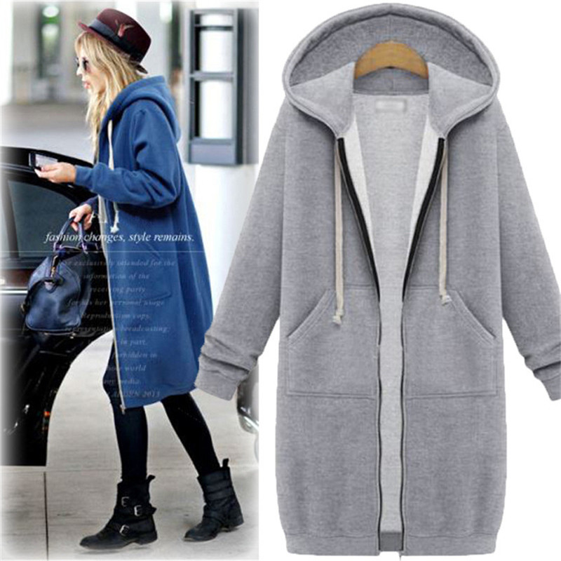 Europe Style Zipper Long Casual Hoodies Women Winter Plus Size Cotton Blue  Sweatshirts Dress Loose Hooded Jackets Outwear Female c09d53239f