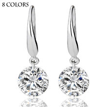 8 Colors High Quality Brand New Cheap Fashion Wholesale Silver Plated Hook Cz Crystal Earrings For Women Beautiful Wedding Gift(China)