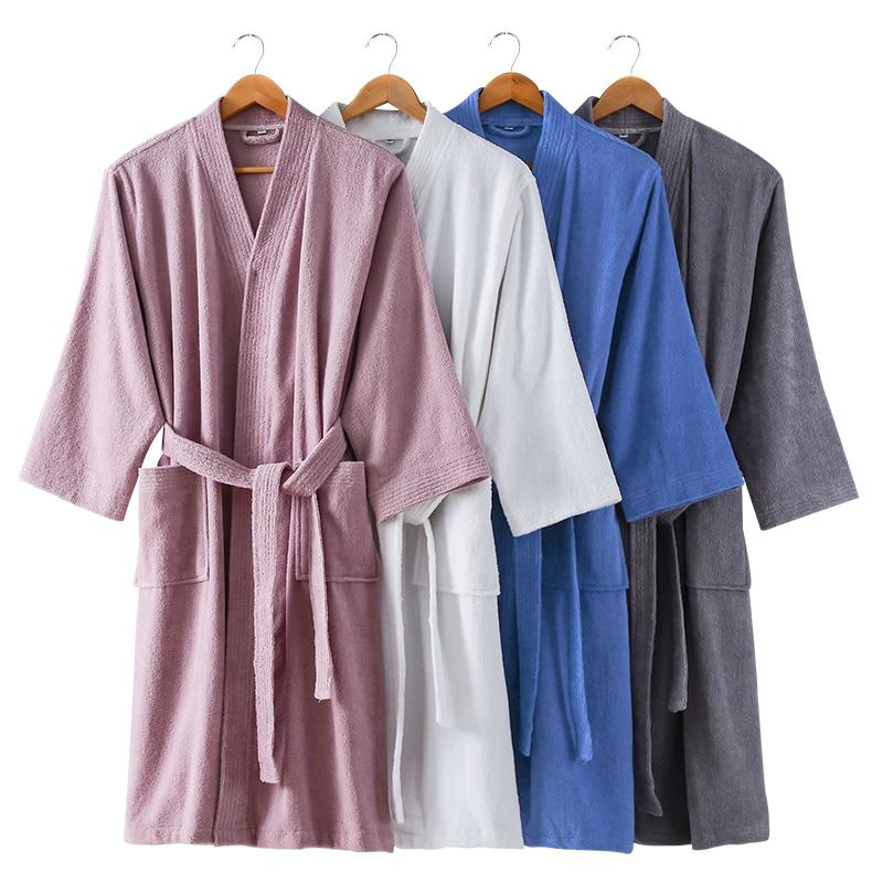 Men s Kimono Bathrobe 100 Cotton Robes Winter Plus Size XXL Thick Long Robe For Men