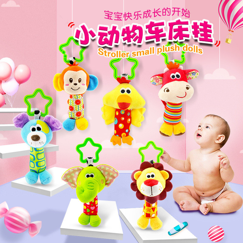 Hanging Infant Newborn Toys Animal Baby Rattle Plush Dog Monkey Elephant Stroller Bed Baby Toys 0-12 Months Rattle Toy For Child soccer balls size 4