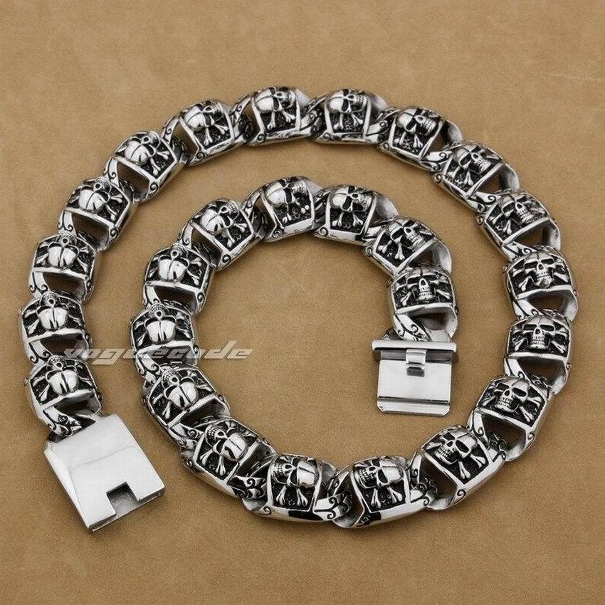 LINSION 18~36 Huge 316L Stainless Steel Pirate Skull Necklace Mens Biker Link Chain 5T002N linsion 18 36 huge