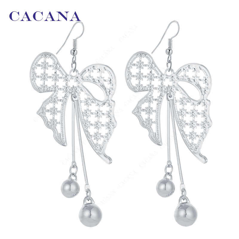 CACANA Dangle Long Earrings For Women bow-knot Top Quality Bijouterie Hot Sale No.A483 A484
