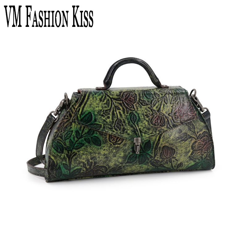 VM FASHION KISS Genuine Leather Retro Embossing Handbag Flower Shoulder Bag Female Zipper Big Crossbody Bag Women Bags Designer free shipping embossing letters package europe fashion genuine leather single shoulder hand his female bag