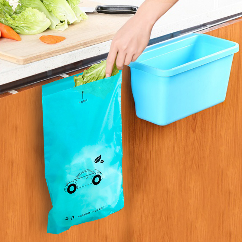 50pcs/lot Disposable Self-Adhesive Trash Bag Degradable Multi-purpose Trash Rubbish Bag Portable Vehicle Kitchen Garbage Bag