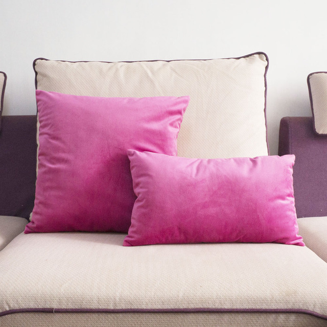 Lovely Quality Bright Pink Velvet Pillow Case Cushion Cover No Balling Up Waist