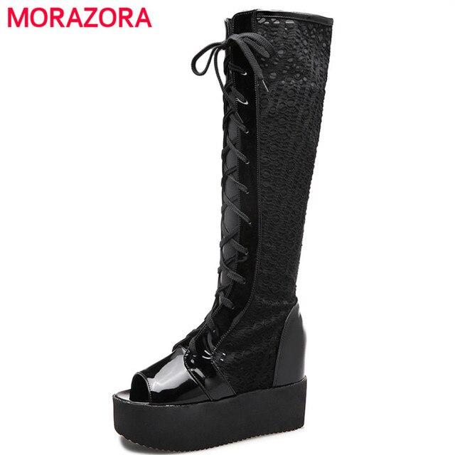 MORAZORA pattini di Estate al ginocchio alti stivali lunghi di modo  elegante altezza crescente lace- 7ba09bfbf55