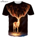 Elk Painted High Quality Men's Short Sleeves Tops Tees Casual 3D Print T shirts Short Sleeve Us/Eur Size NSWT3067
