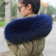 Зима натуральный синий воротник из меха енота и женские шарфы из меха енота, модное пальто, свитер, шарфы, шапка большого размера