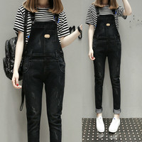 Spring Autumn Rompers Womens Denim Jumpsuits Vintage Sleeveless Backless Casual Loose Balck Overalls Strapless Paysuits