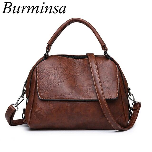 ff70686bab25 Burminsa Vintage Soft Women Shoulder Messenger Bags Pillow PU Leather  Handbags High Quality Female Purse 2018