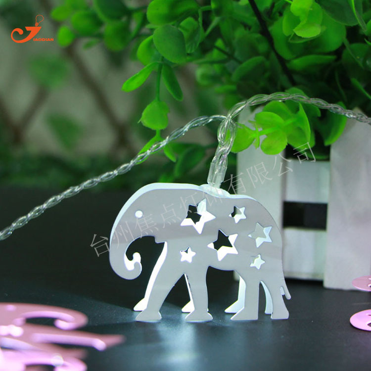 Stainless Steel Elephant 10 LED Home Bedroom Lighting Fairy Light Battery Operated Party Garden Wedding Festival Decor as Gifts