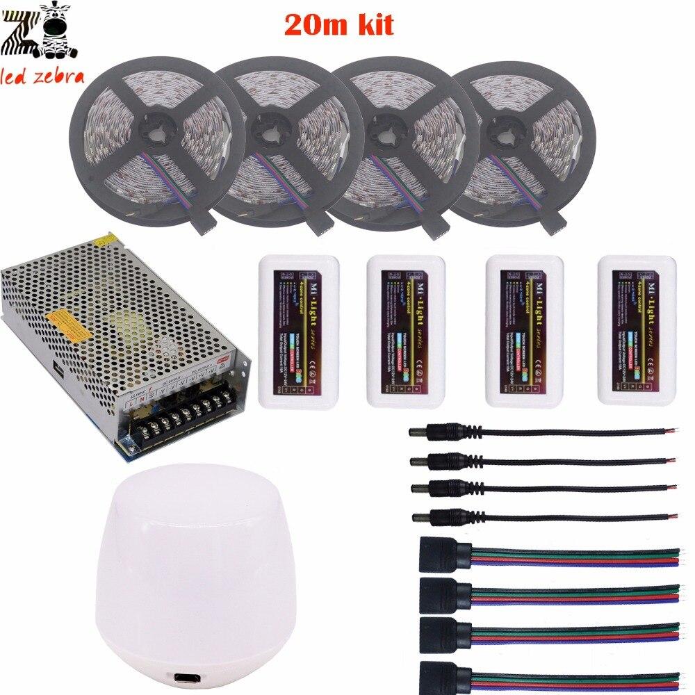 Mettre en évidence 5/10/15/20 m rgb 5050 led bande lumière dc12v + mi. lumière 2.4g wifi contrôleur + led de contrôle + alimentation en alimentation led