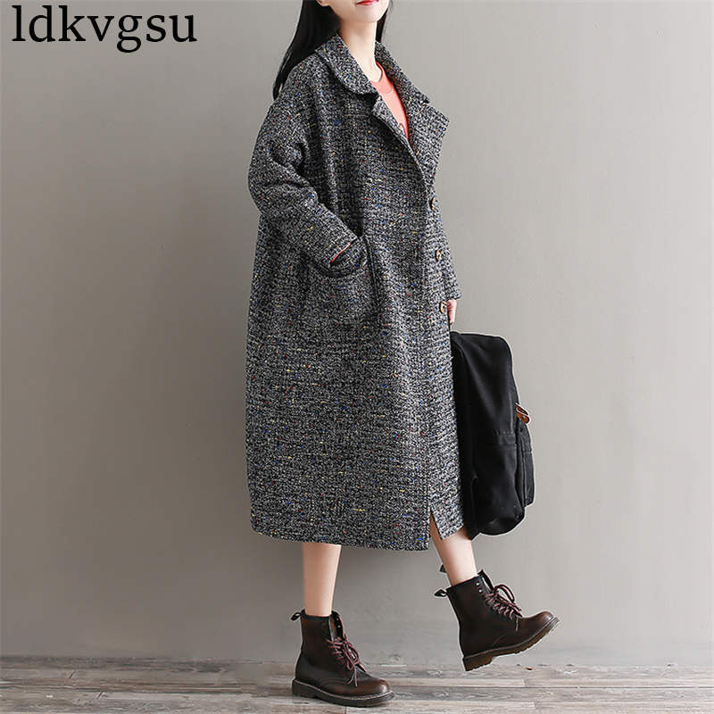 2019 Fashion Large Size Loose Cocoon Woolen Jacket Women's Autumn Winter New Long Wool Coat Plus Size Outerwear 227