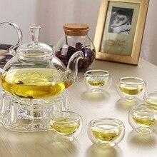 7 шт./компл. высокое качество термостойкого стекла чайник 1 шт.+ 6 шт. с двойным слоем стекла чайная чашка JO 1055
