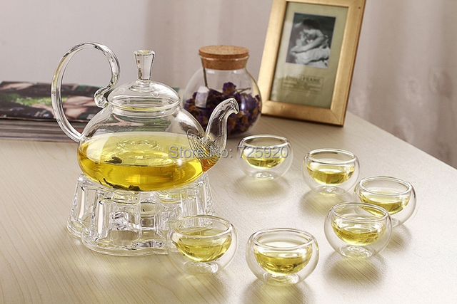 7 unids/set alta calidad vidrio resistente al calor tetera 1 unids tetera 6 unids doble capa de cristal del té taza Jo 1055