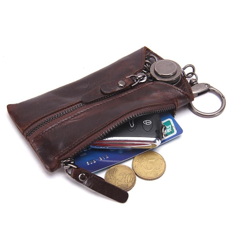 Image 2 - CONTACTS 100% Genuine Leather Key Wallet Men Car Key Holder Zipper Keys Case Top Quality Male Man Housekeeper Keys OrganizerKey Wallets   -
