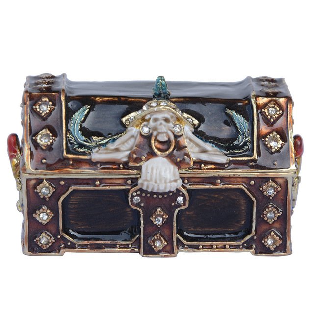 New Arrival Pirate Treasure Chest Trinket Box Bejeweled Metal Jewelry Home Decor Christmas X