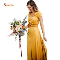 Short Sleeve Yellow Bridesmaid Dresses 2019 V Neck Wedding Party Dresses Leg Slit Girls Pageant Prom Party Dresses D262