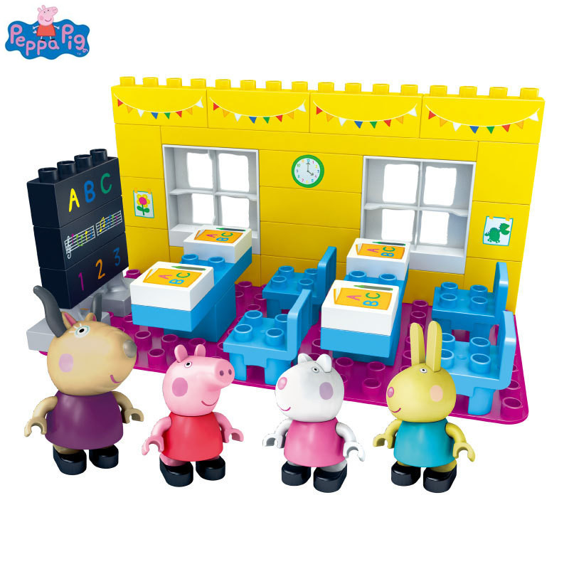 Peppa Pig Assembly Building Blocks Classroom Scene Buiding Blocks Toys Figures Learning Building Kit For Girls Boys gift peppa pig toys doll real scene model house pvc action figures family member toys early learning educational toys gift for kids