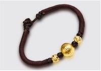Чистый насыщенный 24 К желтое золото круглый Бусины строка ткань Для мужчин браслет