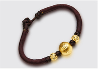 Pure Solid 24K Yellow Gold Round Beads String Weave Men's Bracelet