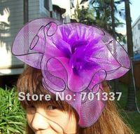 Purple FASCINATOR Dances Races Weddings Party HAT Costume Purple Flower Hair Hat H005