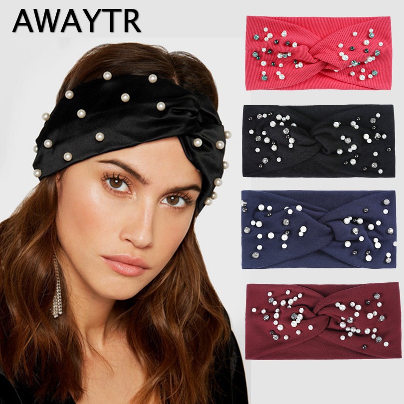 AWAYTR Knitted Pearl Knot Headband for Women Girls Hair Accessories Autumn Winter Headwear 8 Colors Elastic Hair Hoop Hairband