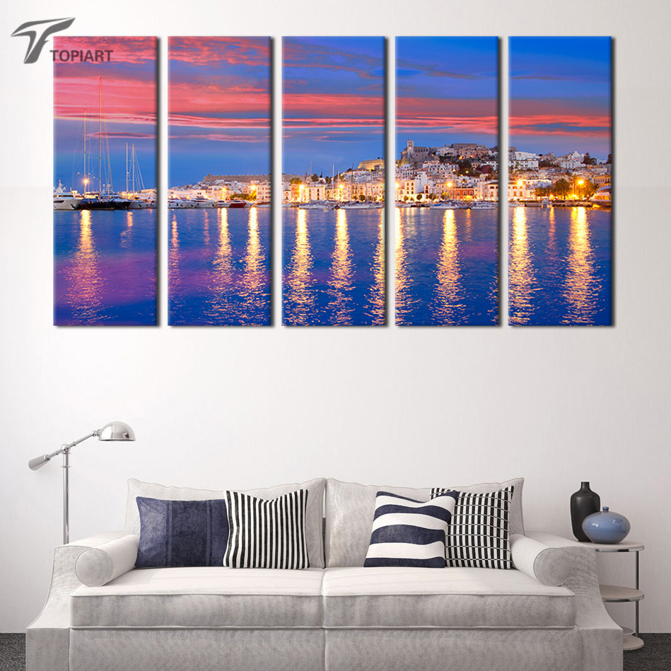 online get cheap large canvas wall art aliexpresscom  alibaba group - island night landscape canvas print large wall art canvas painting  panelmodern painting picture for