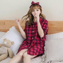 Повседневное Ночная рубашка в клетку для новинки женщин осень весна 100% хлопок Сексуальное Мини Ночное платье с длинным рукавом пижамы