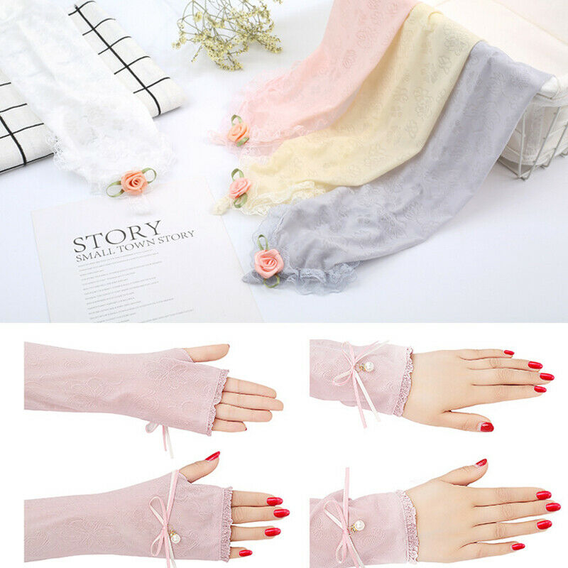 2019 New Fashion Womens Lace Print Sunscreen Cycling Outdoor UV Protection Cuff Arm Sleeve Skin