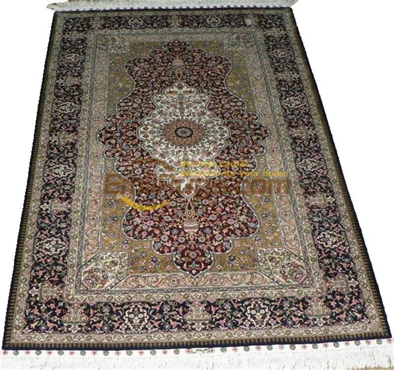 Tapis persan en soie tapis orientaux tapis tissés à la main pour salon Patterngc117psilkyg28 - 4
