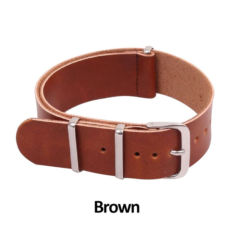 цена на 18-22mm 3 Rings Men Leather Military Watch Strap Band stainless steel Buckle Watchband