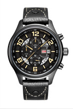 Мода Парнис 43 мм Черное PVD Черный Ремешок Корпус Из Нержавеющей Японский Кварцевый Бизнес мужские Наручные Часы