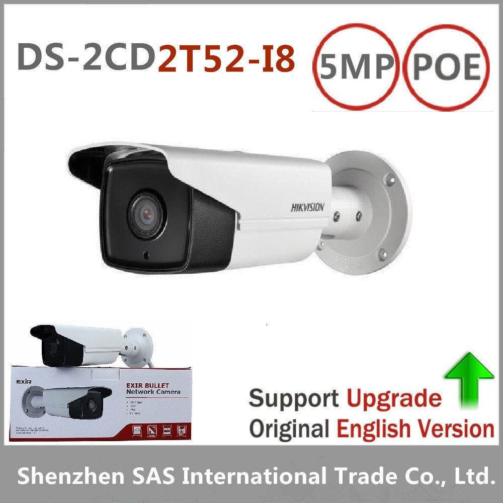 DHL Free shipping Hikvision DS-2CD2T52-I8 English version 5MP network bullet POE IP security camera with up to 80m IR
