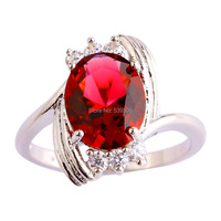 Wholesale Wedding Oval Cut Ruby Spinel & White Sapphire 925 Silver Ring Size 6 7 8 9 10 11 12 Cocktail Jewelry Rings Free Ship