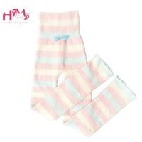 Japanese Plush Sleep Wear Pants Women Winter Soft Warm Cute Rainbow Striped Pink Flanne Homewear Knitted Casual Lounge Pajama