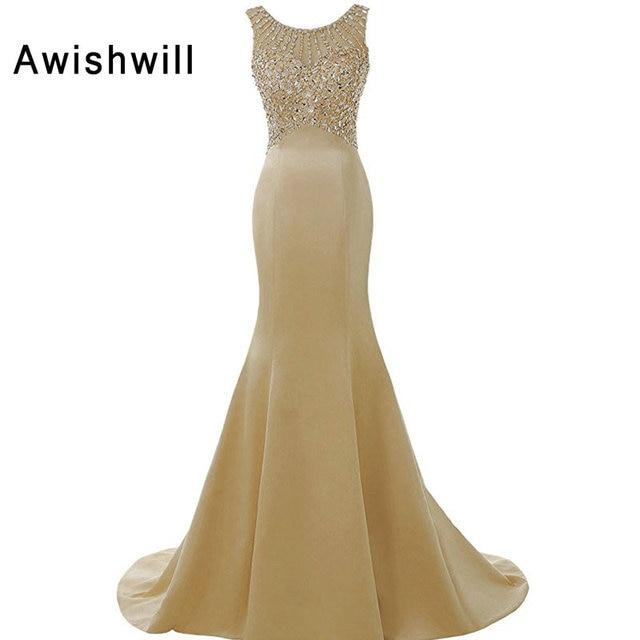 Robe De Soiree Longues Champagne Color Formal Dress For Women
